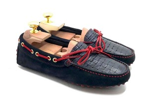 Loafers 'Drive' in Blue navy suede & woven calf, with laces and stitching in Red.