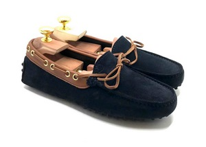 Loafers 'Drive' in dark Blue navy suede with light Brown details