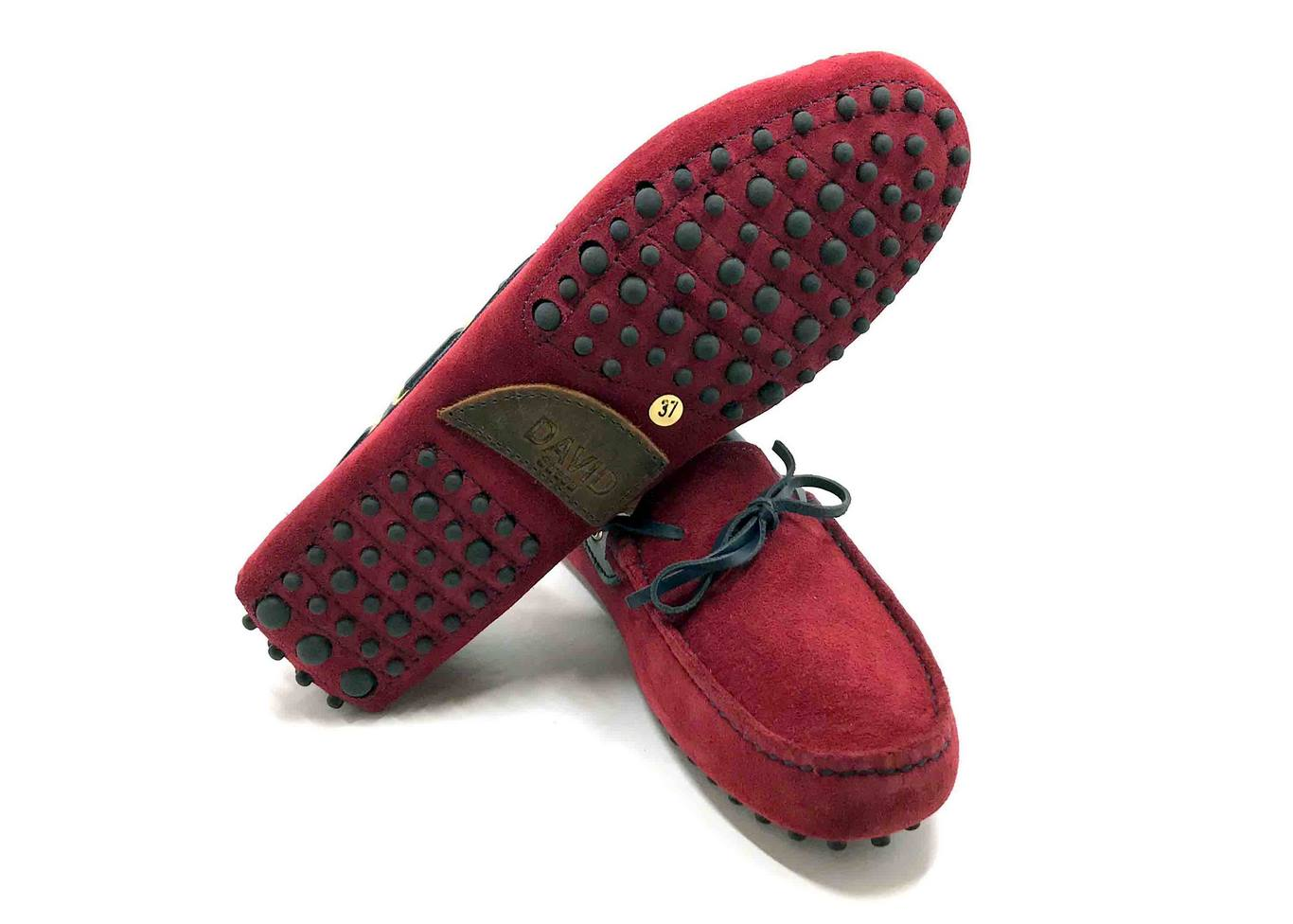 Loafers 'Drive' in suede Bordeaux with Blue stamped Ostrich details