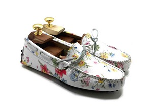 Loafers 'Drive' in printed floral Calfskin leather