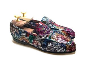 Loafers 'Tasca' in calfskin silkscreened Lawn Black™