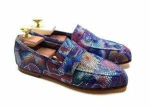 Loafers 'Tasca' in calfskin silkscreened Lawn Cobalt™