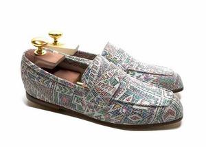 Loafers 'Tasca' in calfskin silkscreened Metis White™