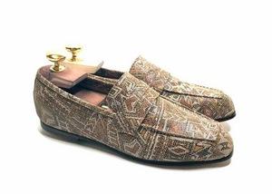 Loafers 'Tasca' in calfskin silkscreened Metis Camel™