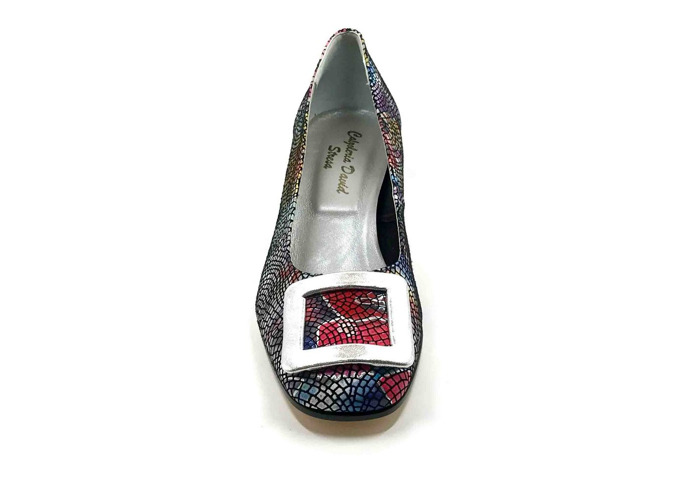 Décolleté Heel 5cm upper in Leather silkscreened Lawn Black, heel and buckle in Silver calfskin
