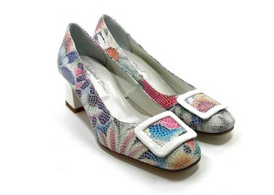 Décolleté Heel 5cm upper in Leather silkscreened Lawn White, heel and buckle in White calfskin
