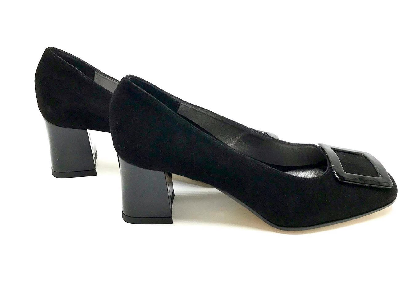Décolleté Heel 5cm upper in Black Suede, heel and buckle in patent Red