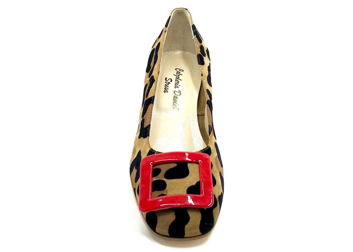 Décolleté Heel 5cm upper  in Suede silkscreened Animalier, heel and buckle in patent Red