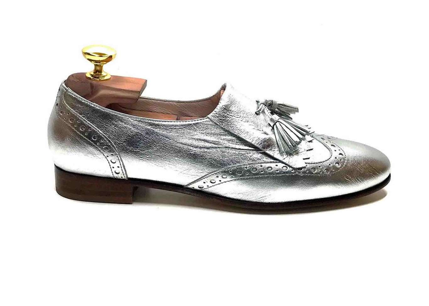 Golf loafer in Silver calfskin