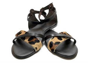 Padded sole Sandals in Brown cowhide leather and leopard print ponyskin-effect