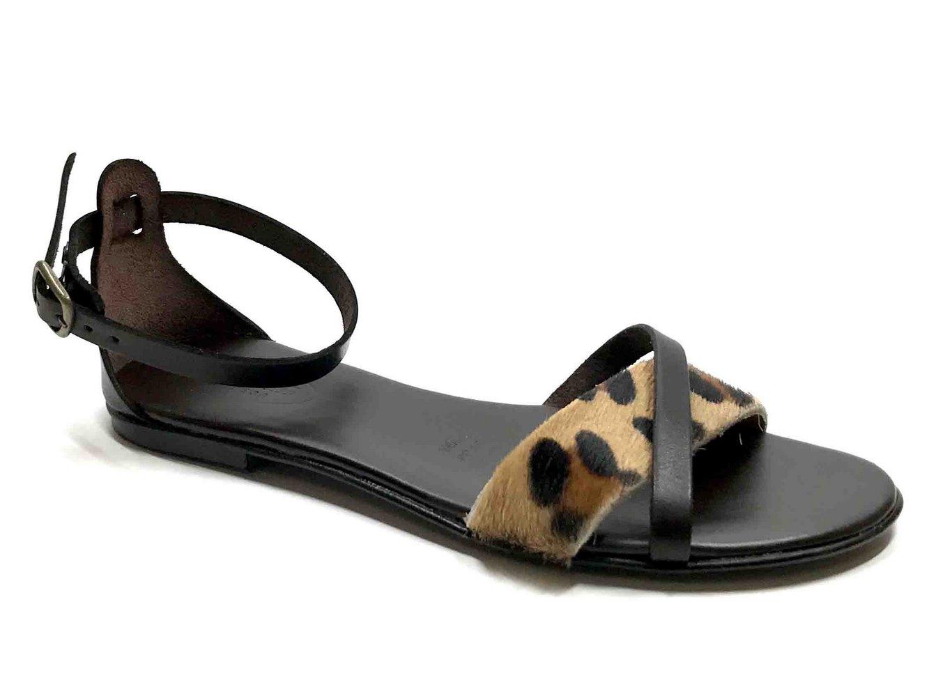 Sandalo con soletta imbottita in vacchetta color Marrone e cavallino maculato