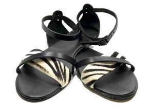 Padded sole Sandals in Brown cowhide leather and zebra print ponyskin-effect