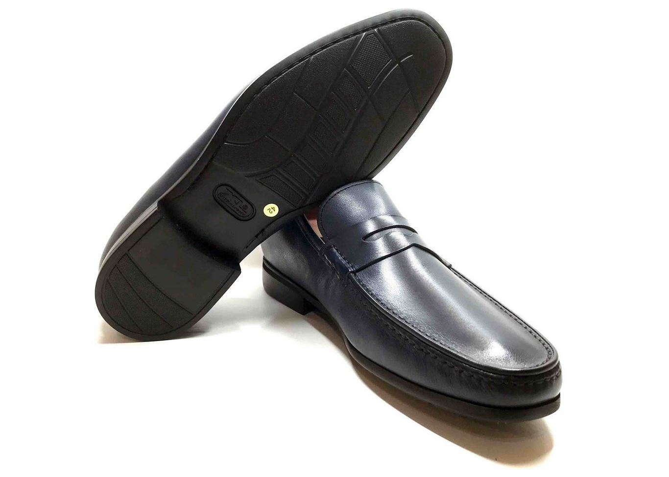 Comfort Loafer with removable insoles dark Blue leather