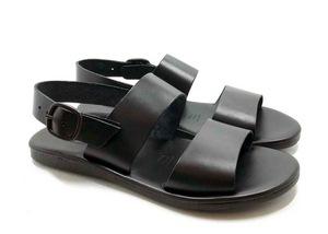 Sandalo con soletta imbottita in vacchetta color Nero