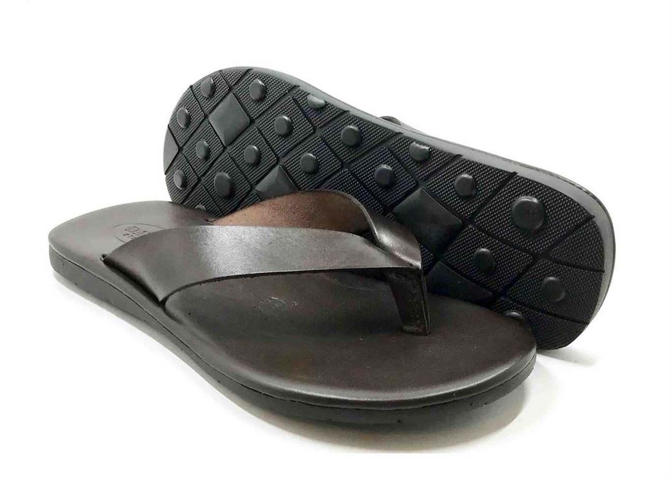 Sandalo con soletta imbottita in vacchetta color Marrone